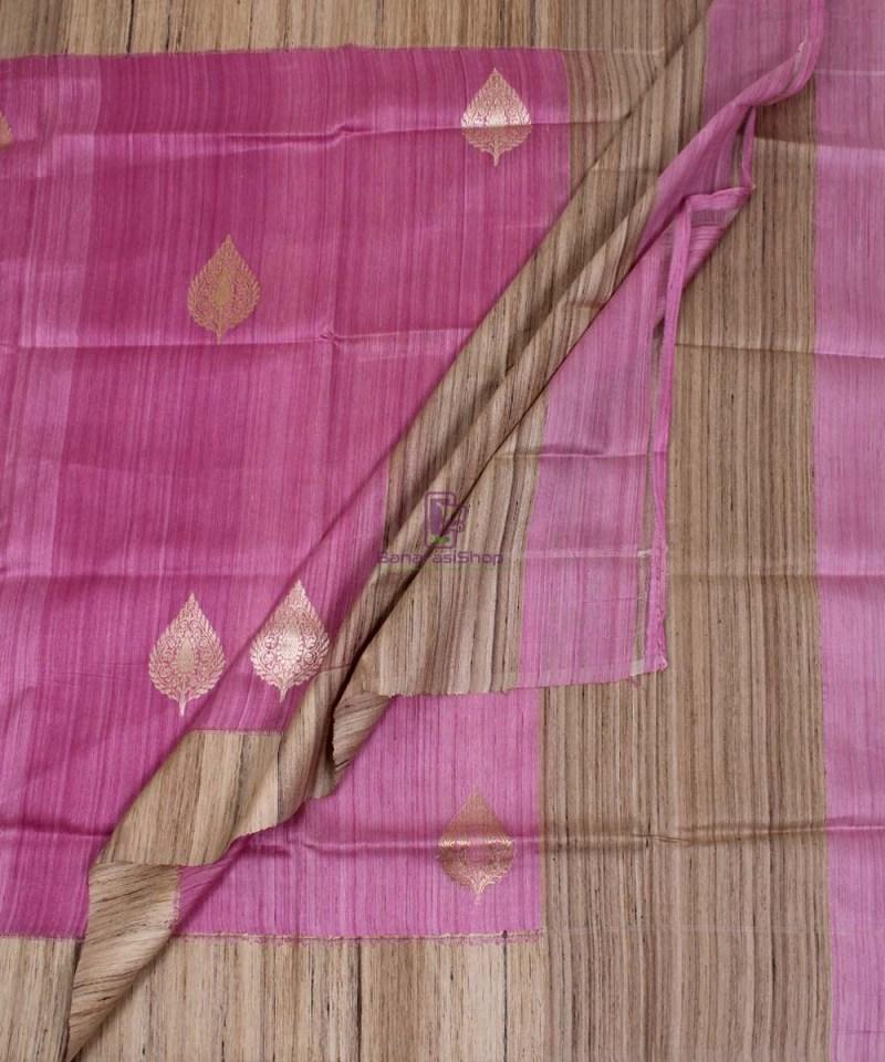 Banarasi Pure Dupion Silk Handloom Pink Dupatta With Khichha Pallu 3