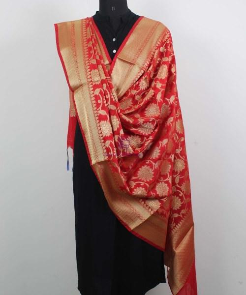 Banarasi Cotton Silk Jaal Red Dupatta 4