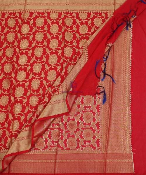 Banarasi Cotton Silk Jaal Red Dupatta 5