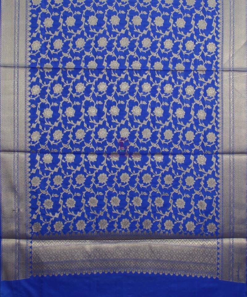 Banarasi Cotton Silk Jaal Royal Blue Dupatta 1