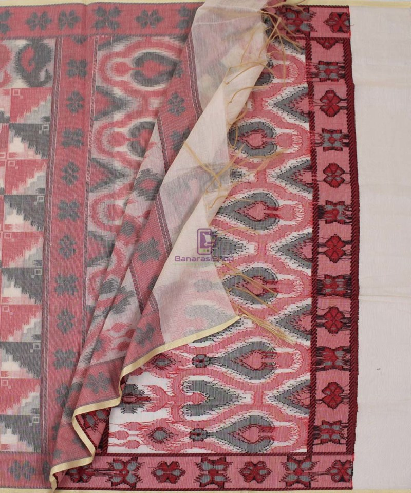 Banarasi Cotton Silk Beige, Red and Black Dupatta 3