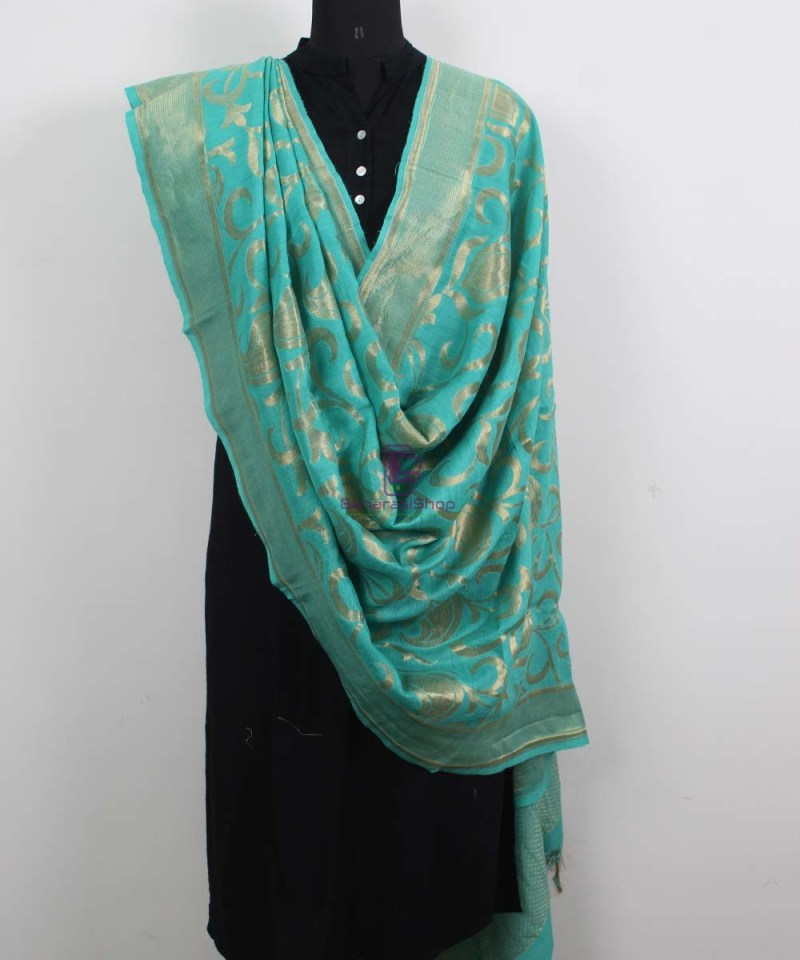 Handloom Banarasi Pure Muga Silk Dupatta in Sea Green 2