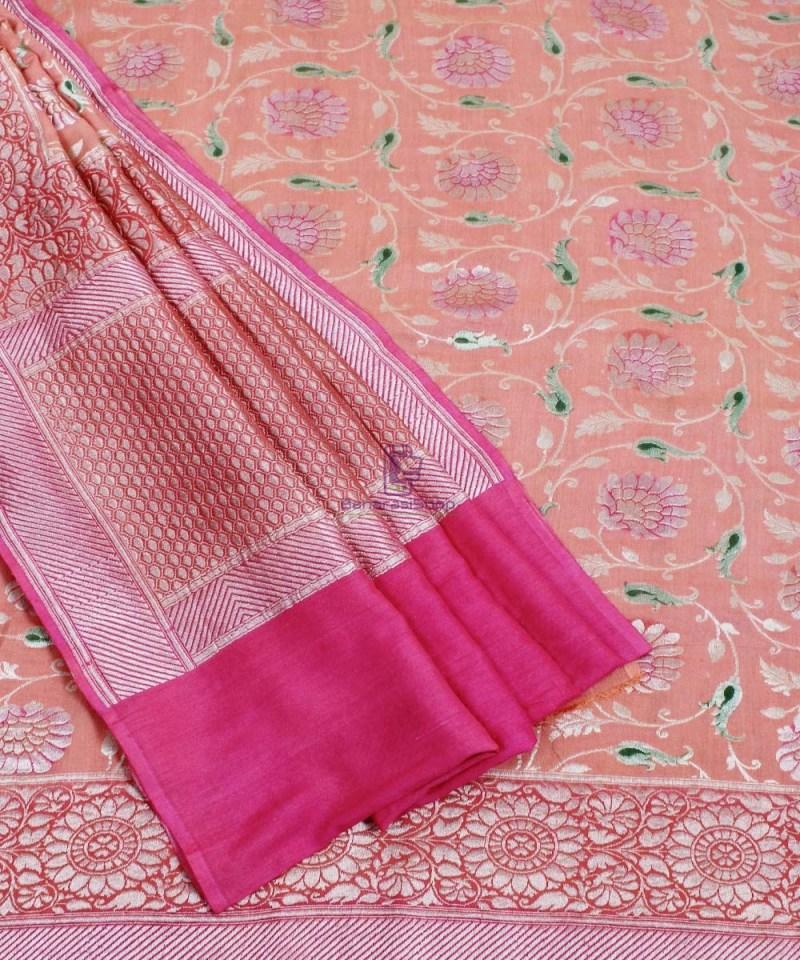 Banarasi Pure Handloom Muga Orange Silk Saree 3