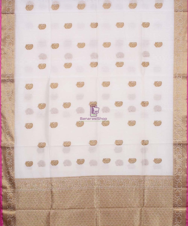 Banarasi Pure Handloom Silk Cotton Off-white Saree 1