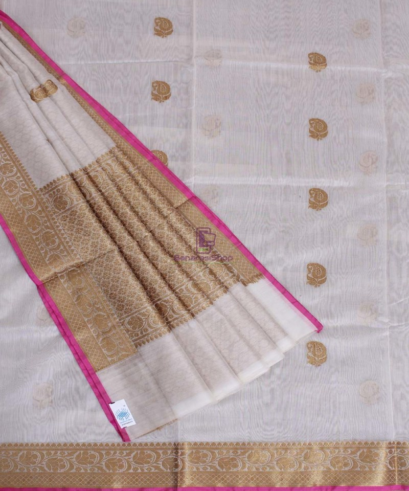 Banarasi Pure Handloom Silk Cotton Off-white Saree 2