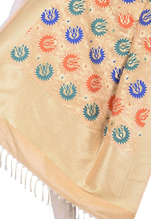 Woven Banarasi Art Silk Kimkhab Dupatta in Beige 4