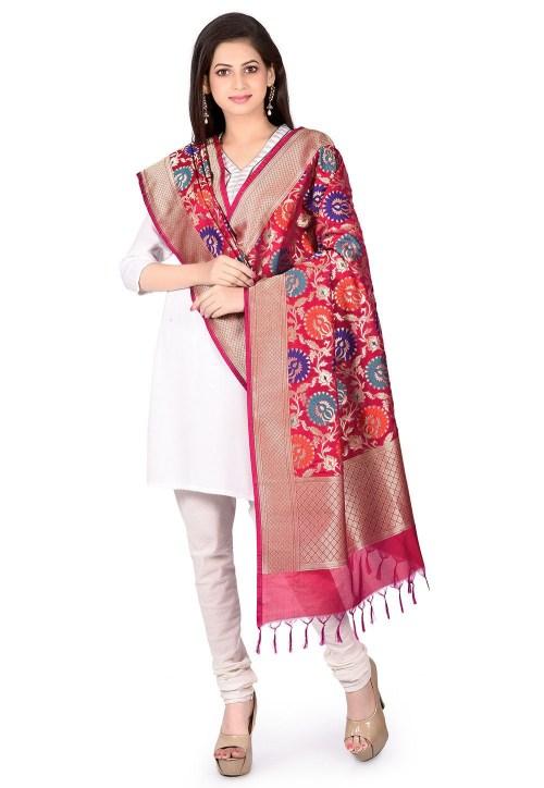 Woven Banarasi Art Silk Kimkhab Dupatta in Fuchsia 5