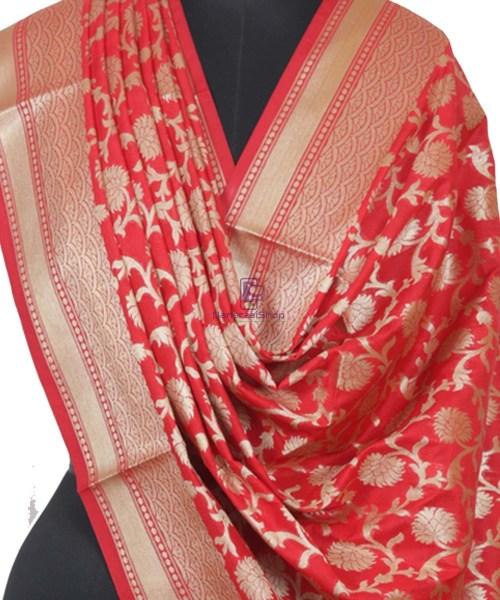 Handloom Banarasi Red Dupatta 4