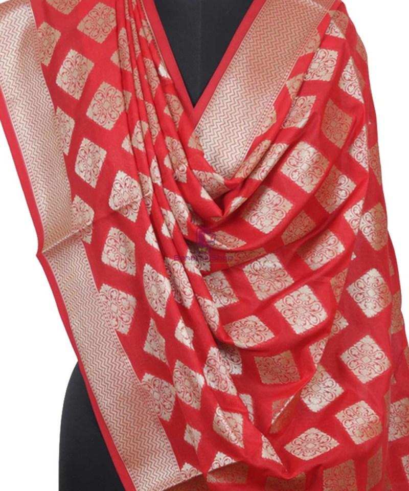 Handloom Banarasi Crimson Red Dupatta 2