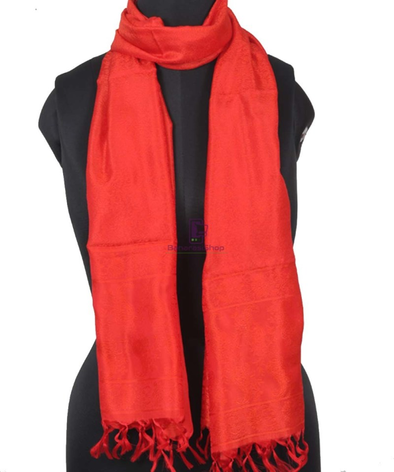 Handloom Banarasi Tanchoi Candy Red Stole 1