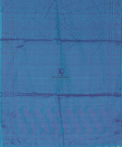 Handloom Banarasi Tanchoi Cobalt Blue Stole 5