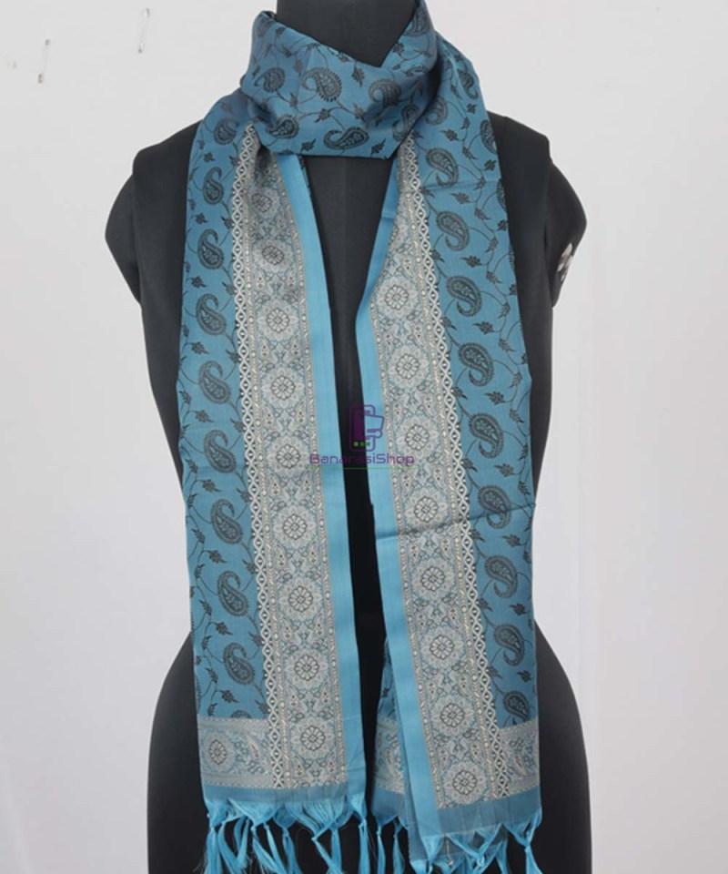 Handloom Banarasi Tanchoi Lapis Blue Stole 1