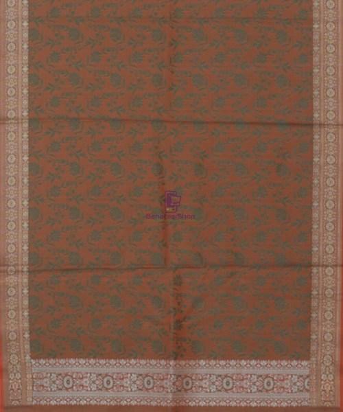 Handloom Banarasi Tanchoi Fire Orange Stole 5