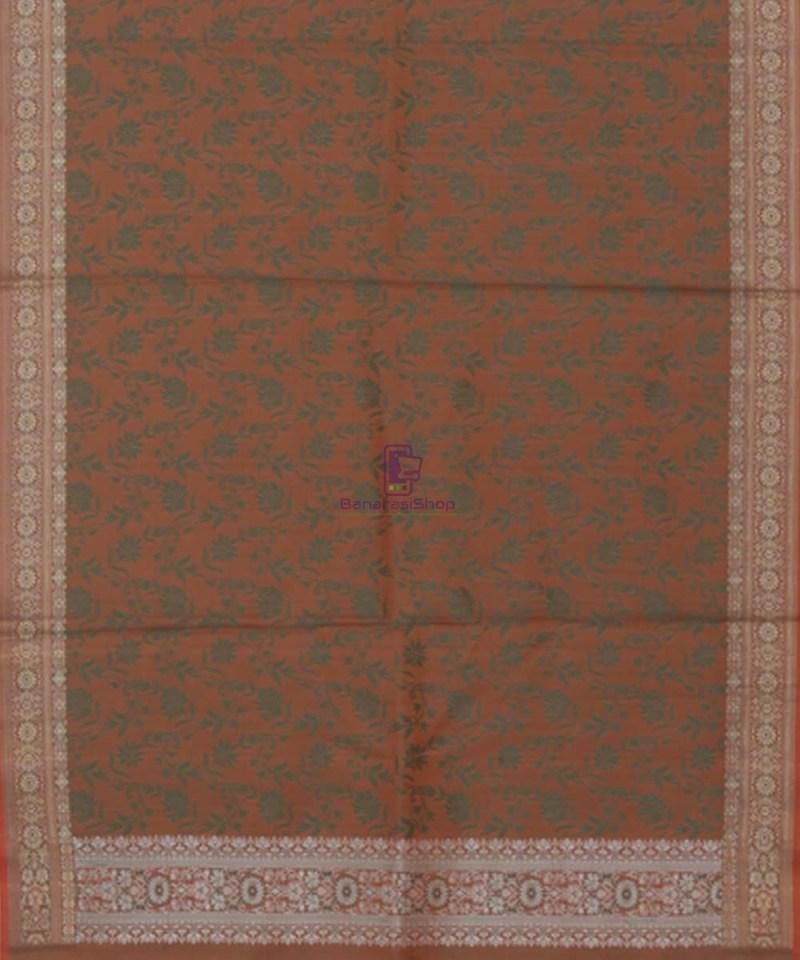 Handloom Banarasi Tanchoi Fire Orange Stole 3