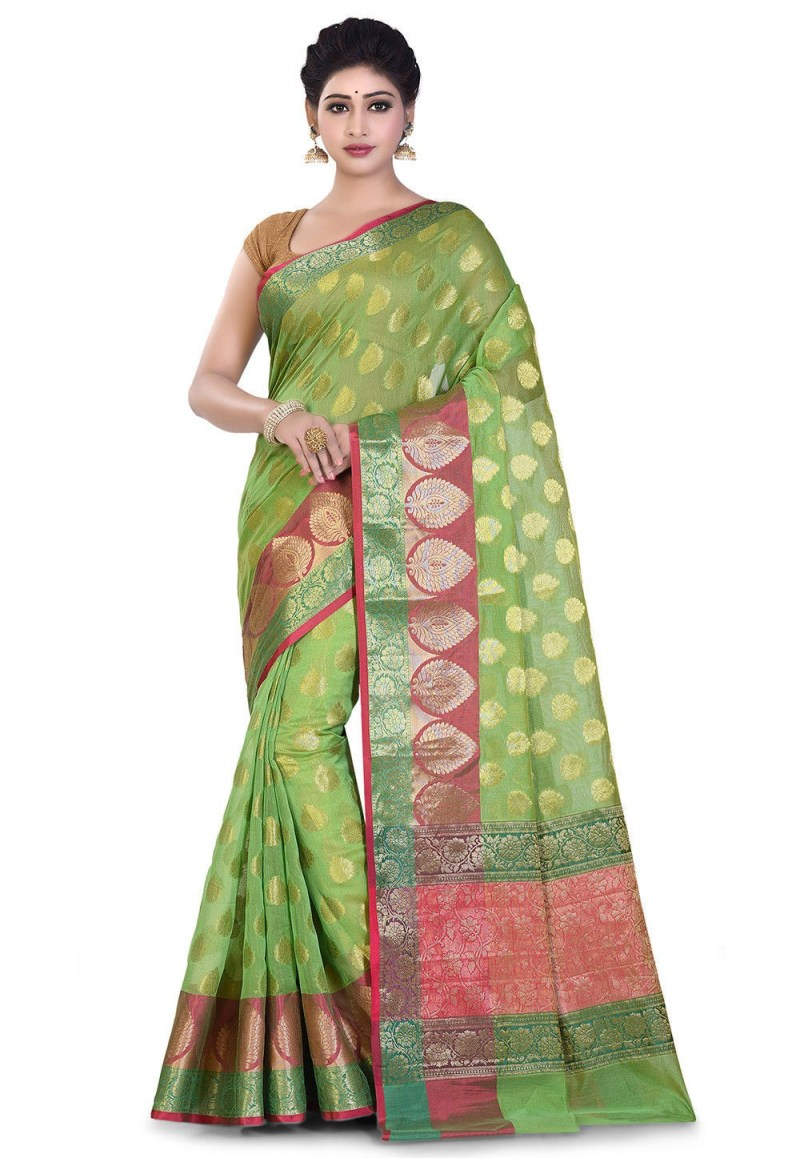 Banarasi Cotton Silk Saree in Light Green 1