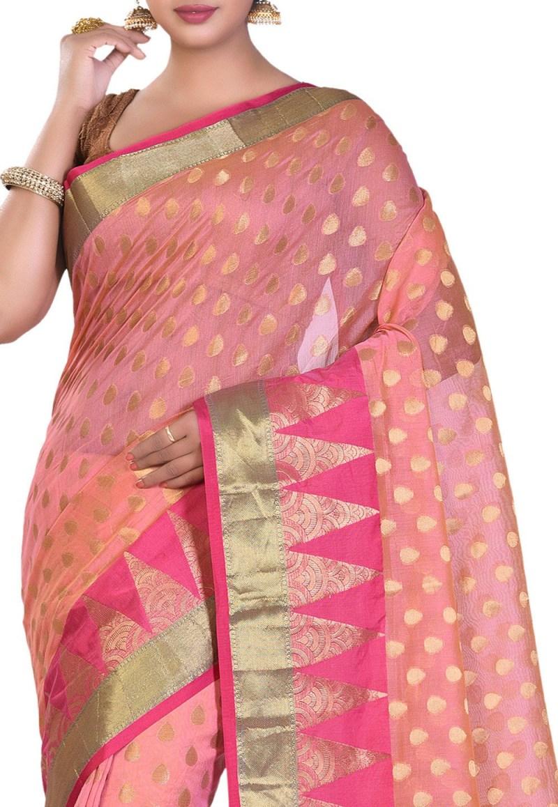 Banarasi Cotton Silk Saree in Peach 2