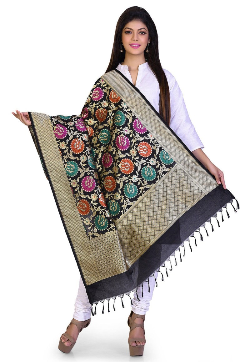 Woven Banarasi Art Silk Kimkhab Dupatta in Black 1