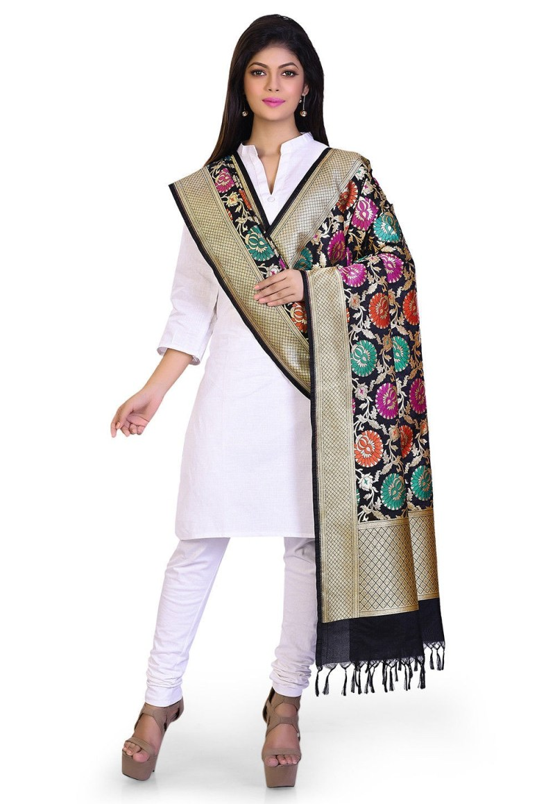 Woven Banarasi Art Silk Kimkhab Dupatta in Black 3
