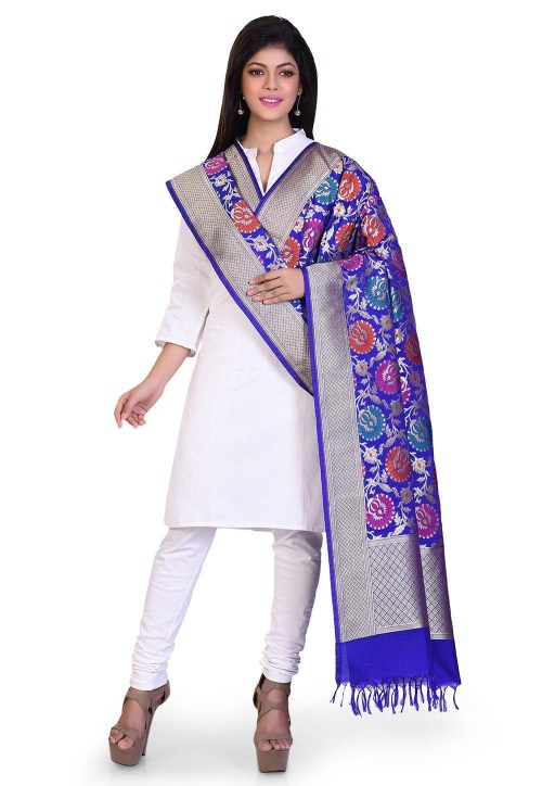 Woven Banarasi Art Silk Kimkhab Dupatta in Royal Blue 5