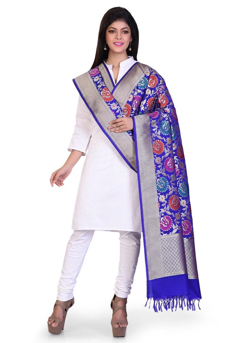 Woven Banarasi Art Silk Kimkhab Dupatta in Royal Blue 3