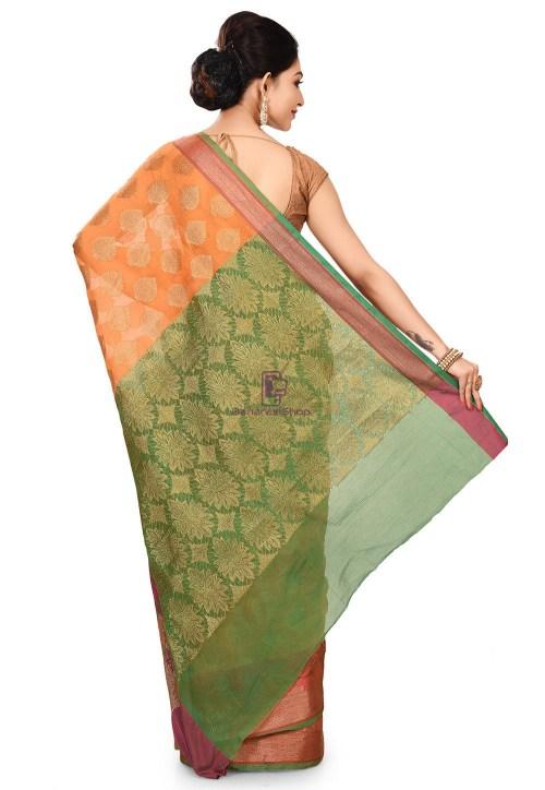 Banarasi Cotton Silk Saree in Orange 9