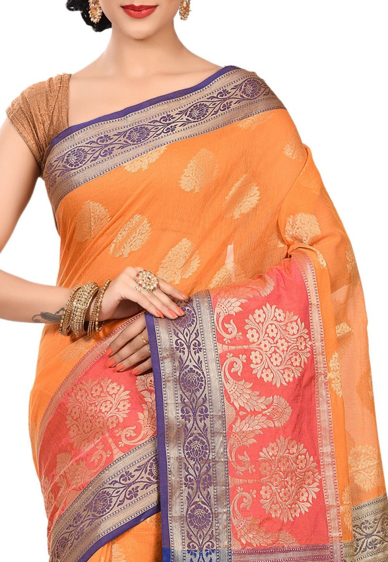 Banarasi Cotton Silk Saree in Orange 2