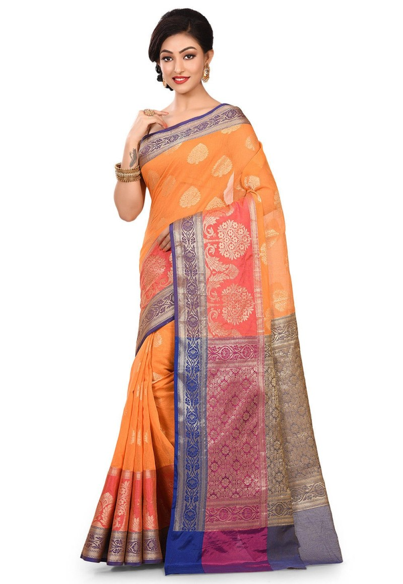 Banarasi Cotton Silk Saree in Orange 4
