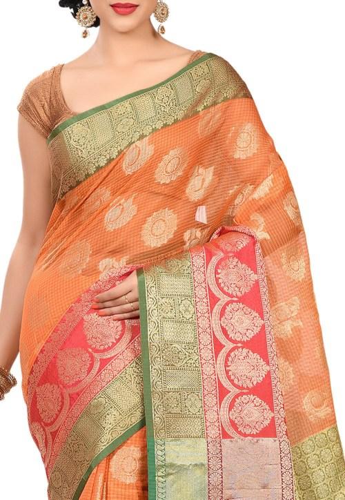 Banarasi Cotton Silk Saree in Orange 5