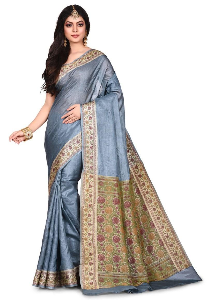 Pure Tussar Silk Banarasi Saree in Grey 1