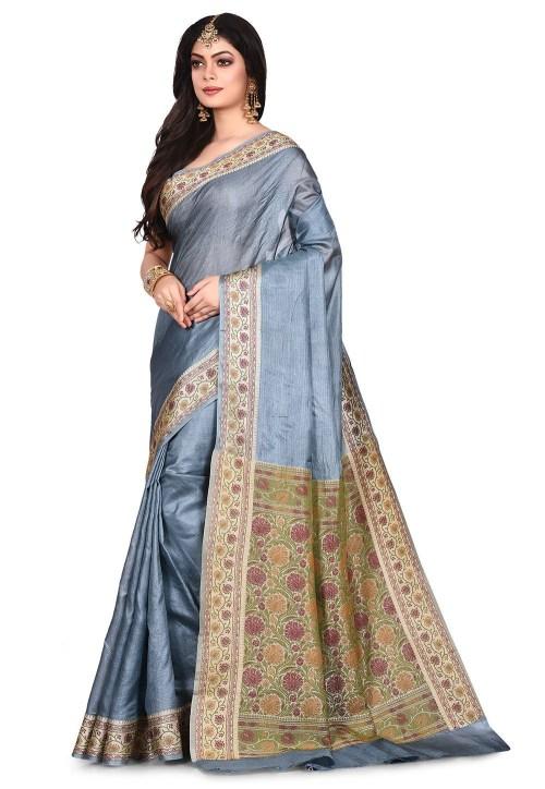 Pure Tussar Silk Banarasi Saree in Grey 7