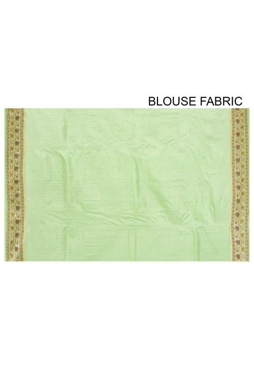 Pure Tussar Silk Banarasi Saree in Light Green 6