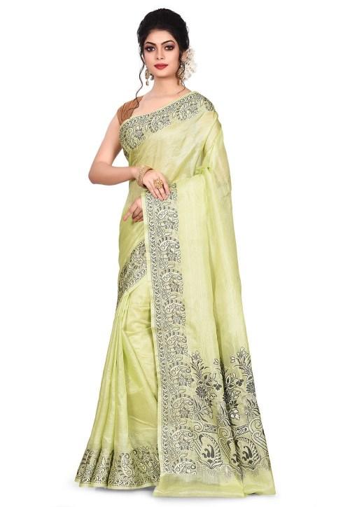 Pure Tussar Silk Banarasi Saree in Light Green 7