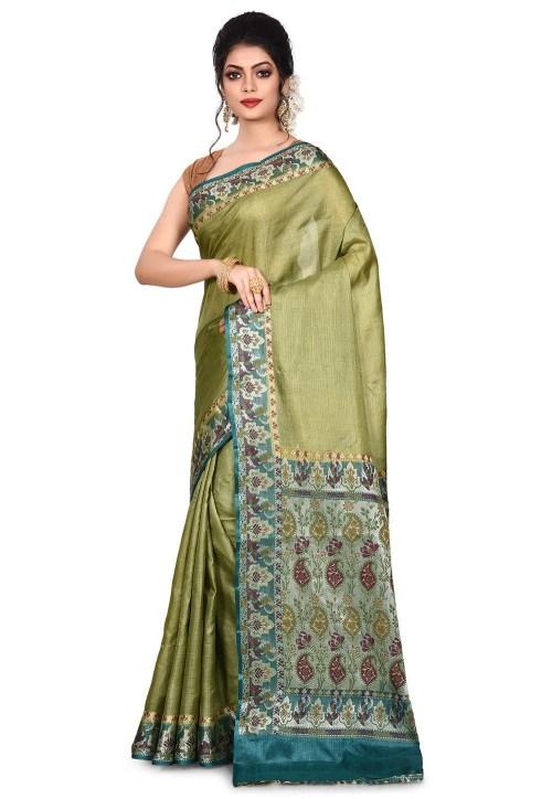 Pure Tussar Silk Banarasi Saree in Olive Green 7