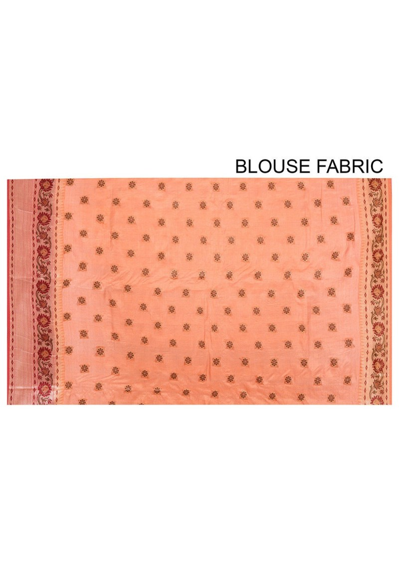 Pure Tussar Silk Banarasi Saree in Orange 3