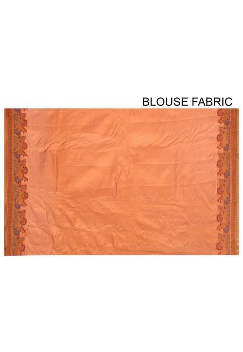 Pure Tussar Silk Banarasi Saree in Orange 6