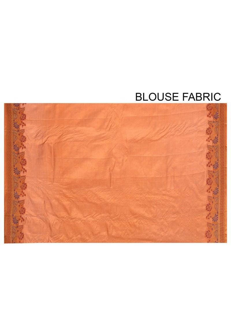 Pure Tussar Silk Banarasi Saree in Orange 3