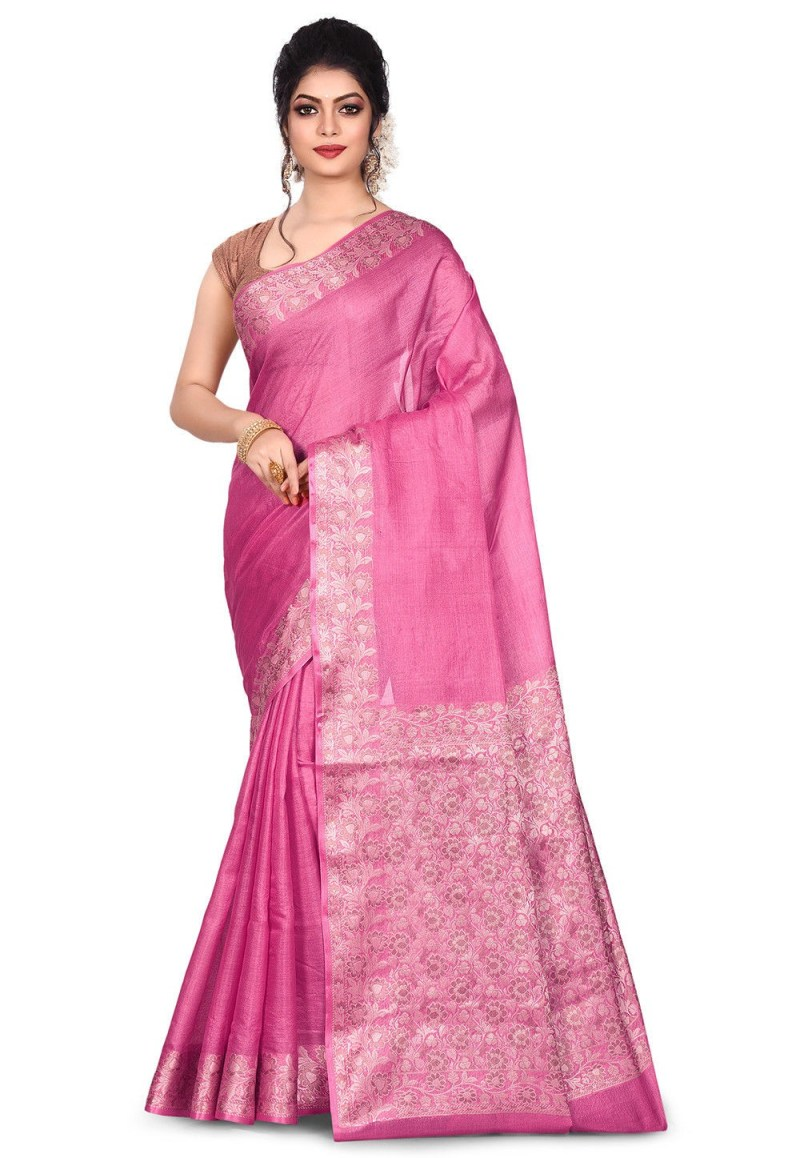 Pure Tussar Silk Banarasi Saree in Pink 1