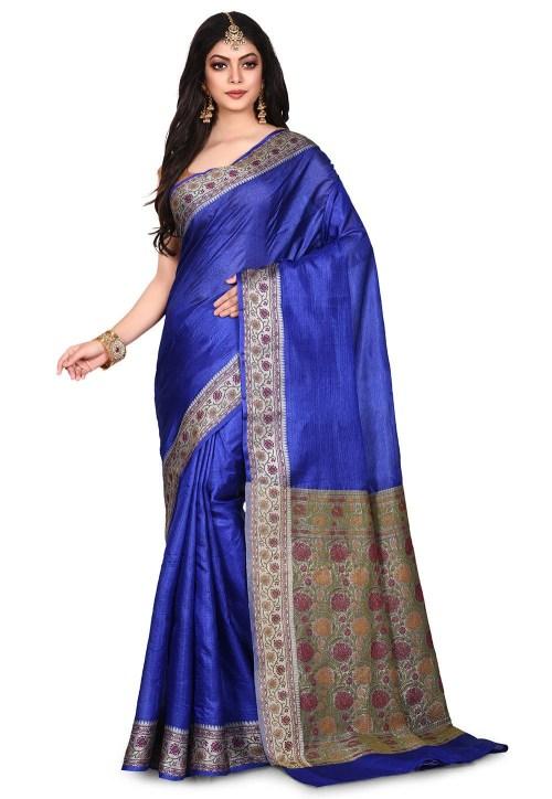Pure Tussar Silk Banarasi Saree in Royal Blue 7