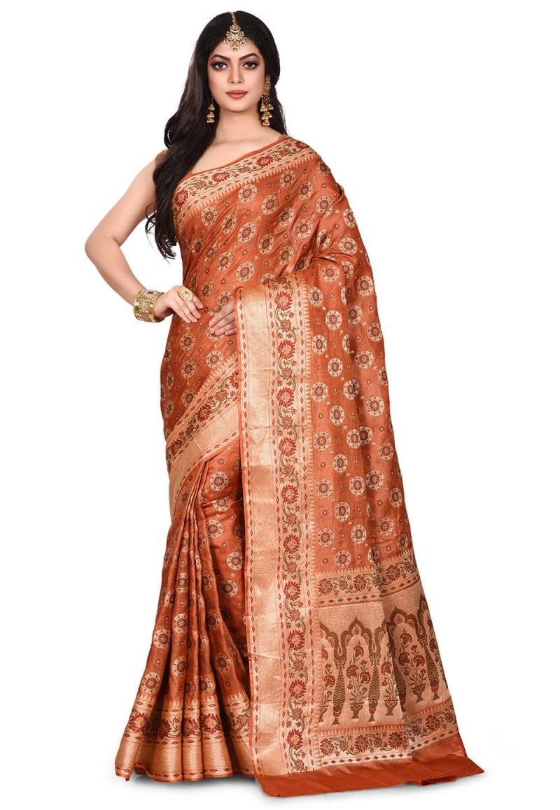 Pure Tussar Silk Banarasi Saree in Rust 1