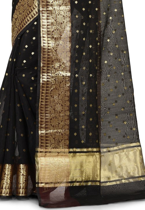 Banarasi Cotton Silk Saree in Black 6