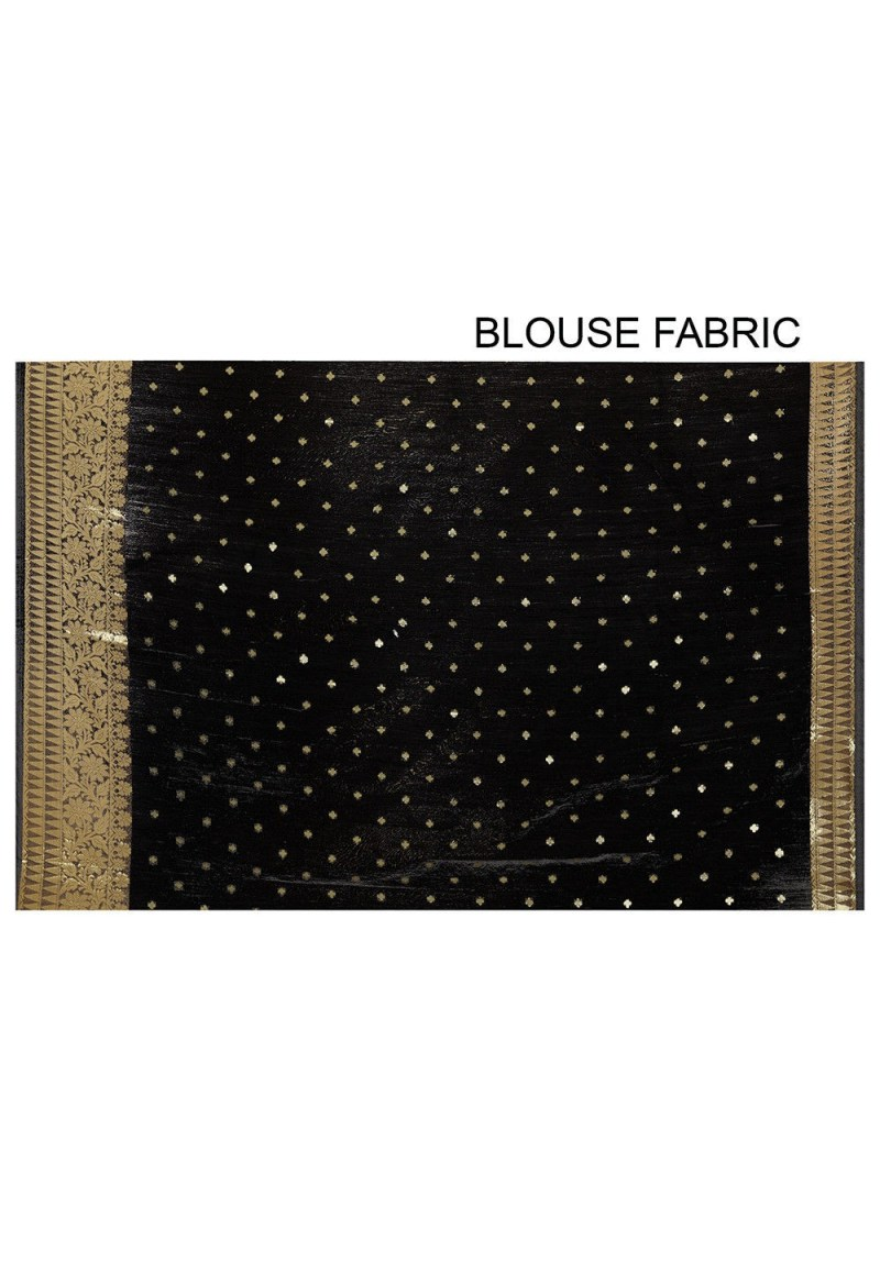 Banarasi Cotton Silk Saree in Black 3