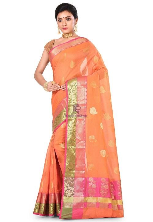 Banarasi Cotton Silk Saree in Dark Peach 7