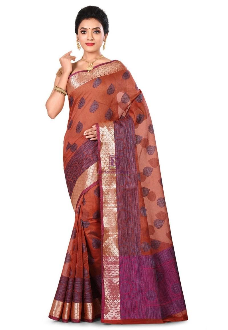 Banarasi Cotton Silk Saree in Dark Peach 1