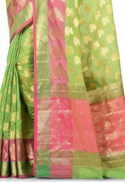 Banarasi Cotton Silk Saree in Green 5