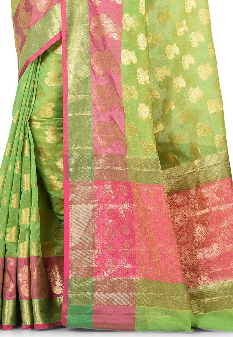 Banarasi Cotton Silk Saree in Green 2