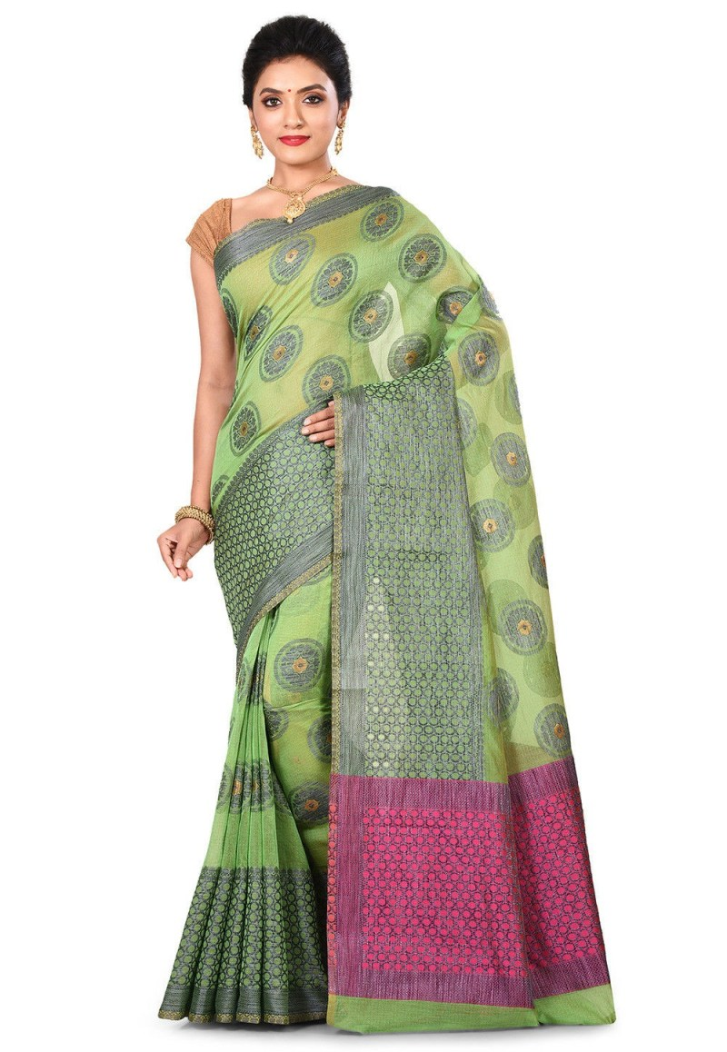Banarasi Cotton Silk Saree in Green 1