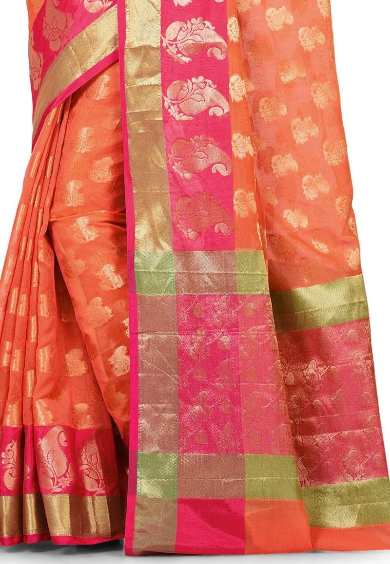 Banarasi Cotton Silk Saree in Orange 2