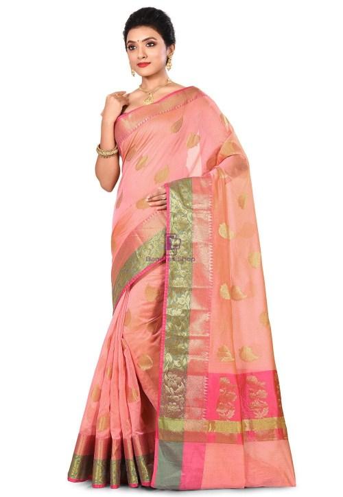 Banarasi Cotton Silk Saree in Peach Pink 7