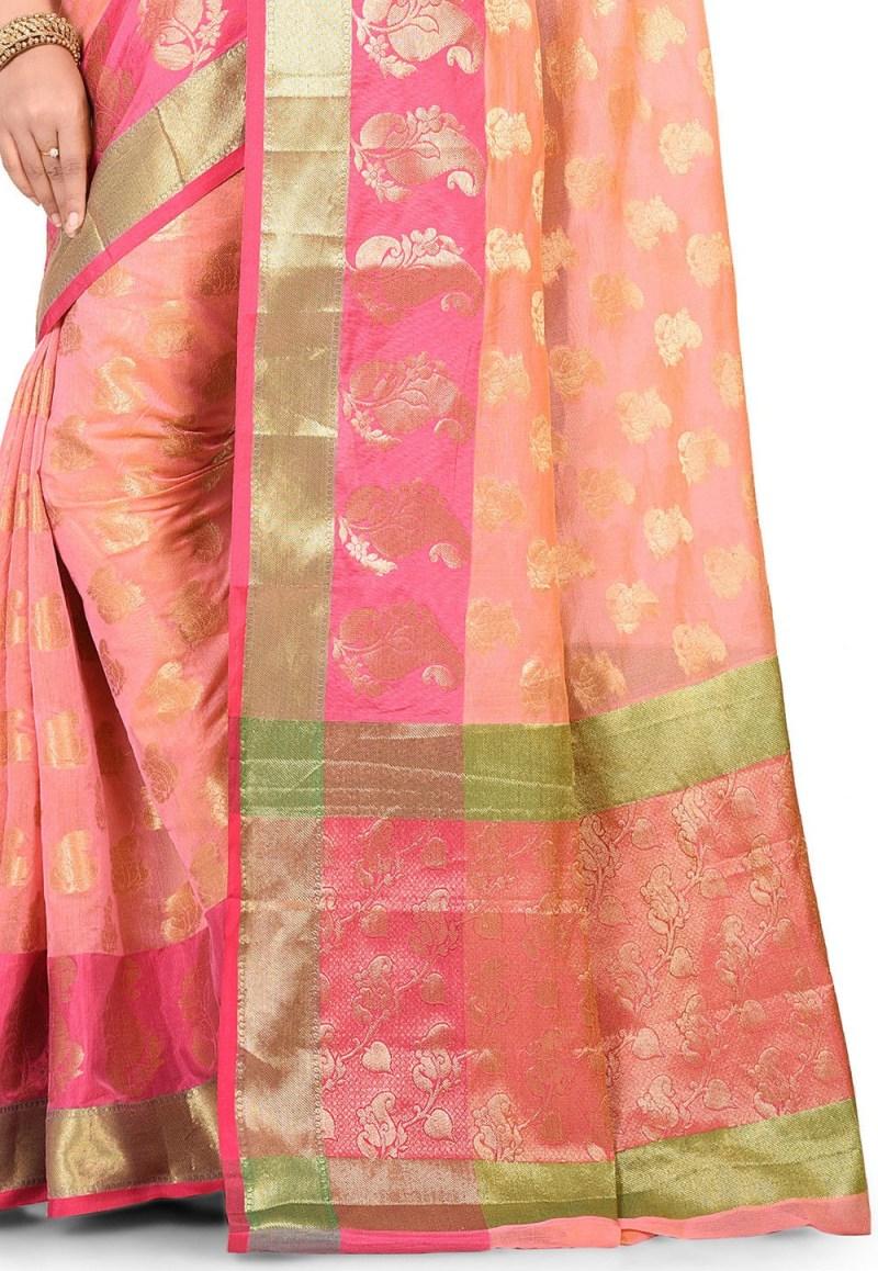 Banarasi Cotton Silk Saree in Pink Peach 2