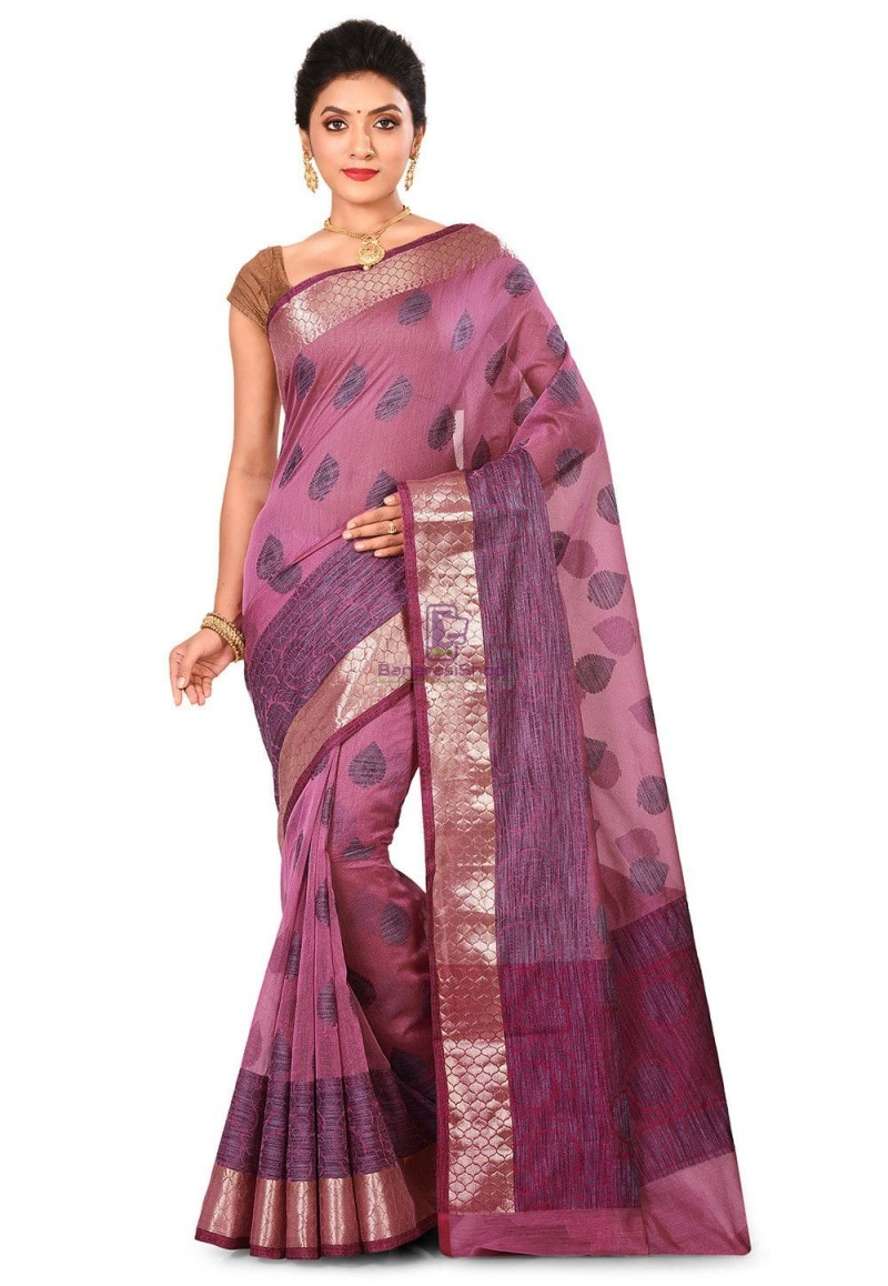 Banarasi Cotton Silk Saree in Pink 1